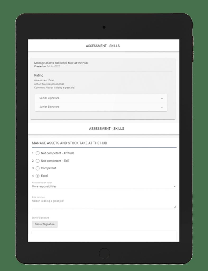 Skills Assessment display on Ipad